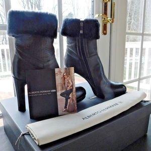 Alberto Fermani Leather Ankle Boots NIB 9.5 ITALY